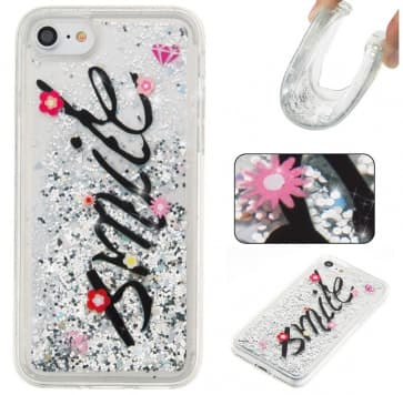 iPhone 7 Case, Smile Glitter Sparkle Bling Floating Liquid With Soft TPU Scratch Resistant Case