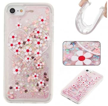 iPhone 7 Case, Flowers Liquid Glitter Sparkle Bling Floating With Soft TPU Scratch Resistant Case