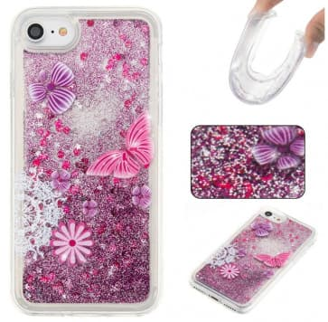 iPhone 7 Case, Butterfly Liquid Glitter Sparkle Bling Floating With Soft TPU Scratch Resistant Case