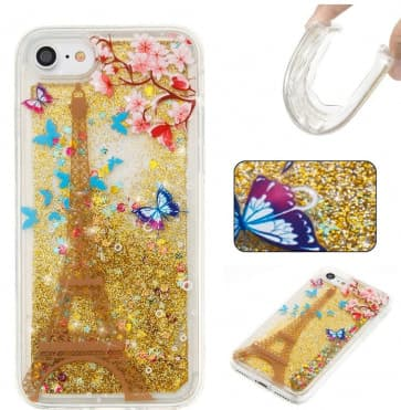 iPhone 7 Case, Eiffel Tower Liquid Glitter Sparkle Bling Floating With Soft TPU Scratch Resistant Case