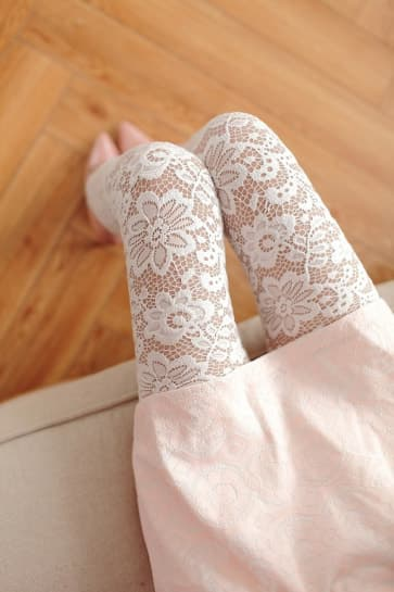 High-Waist Lace Knitted Spandex Jersey Leggings ~ Long Pants