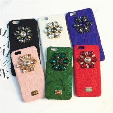 iPhone 7 Plus case, Lace Bling Jelly Rhinestone Flower PU Hard Case