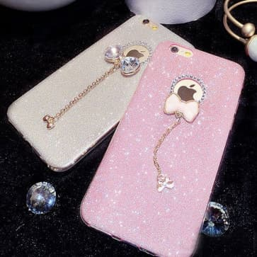 iPhone 7 Plus Case, Bling Glitter Sparkle Rhinestone with Bow Chain Protective Cover