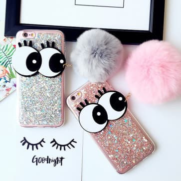 iPhone 7 Case, Big Eyes Sparkle Bling with Fur Ball Pendant