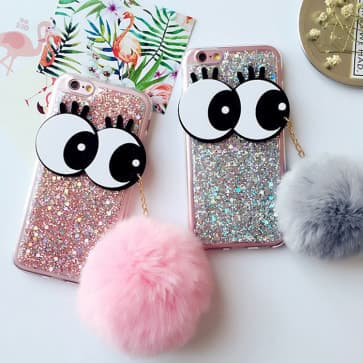 iPhone 6/6S Case, Big Eyes Sparkle Bling with Fur Ball Pendant