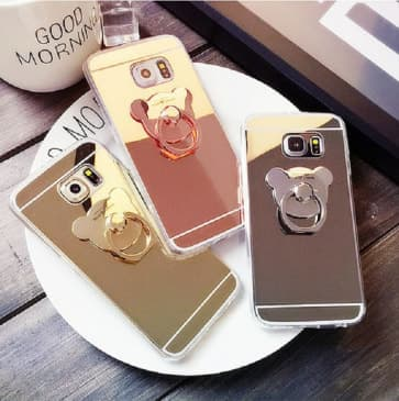 Galaxy S8 Plus Case, Mirror Makeup Case with Bear Ring Stand Holder