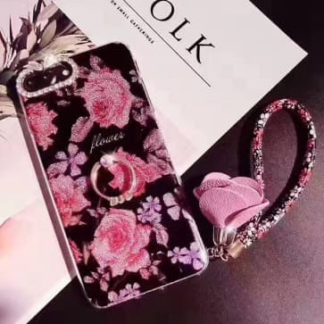iPhone 7 Case ~ Floral Bling Sparkle Rhinestone with Ring Stand Holder