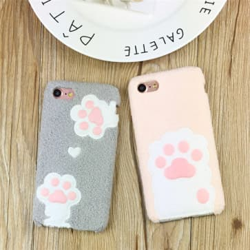iPhone 7 Plus Case, Pet Footprint Velvet Cover
