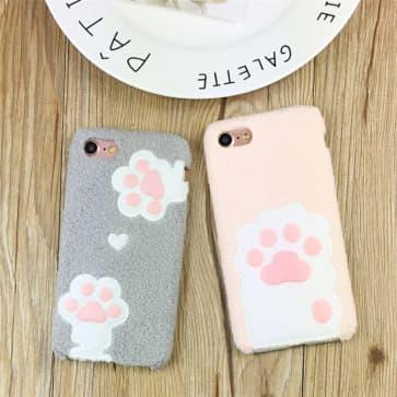 iPhone 6 Plus Case, Pet Footprint Velvet Cover