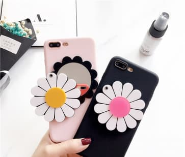 iPhone 7 Plus Case, Flower Hidden Mirror Soft Silicone Cover