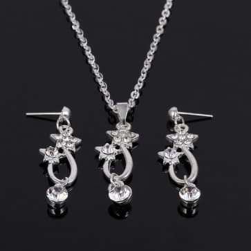 Stars Shaped Rhinestones Necklaces and Earrings Sets