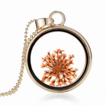 Round Shaped Glass Flower Necklace Pendant Jewelry
