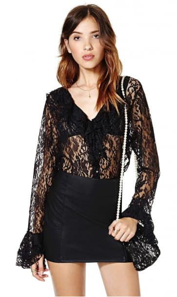 Sexy Jacquard Lace Trumpet Sleeve and Deep V