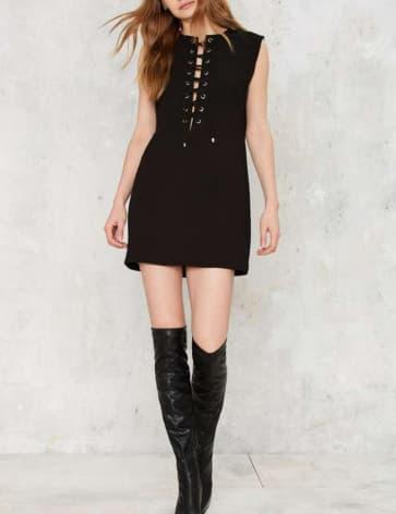 Black Cross Bandage Sleeveless Mini Dress