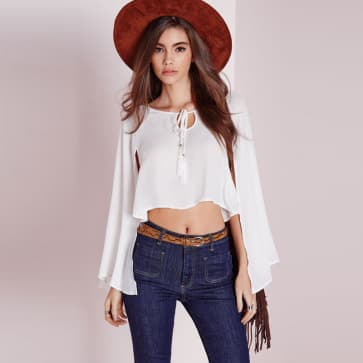 White Chiffon Cape Sleeve Crop Top Blouse