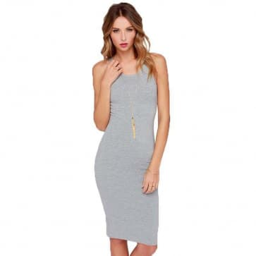 Zipper Back Slim Fit Bodycon Dress