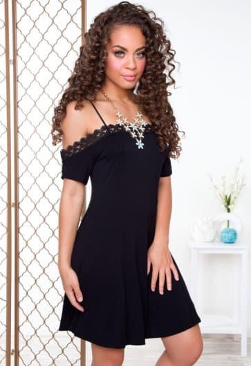 Black Open Shoulder Short Sleeve Knee Length Dress