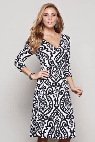 Print Half Sleeve Deep V Bodycon Dress
