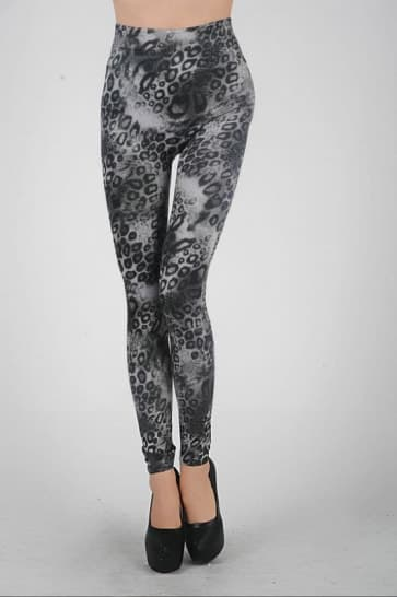 Black Animals Printed Knitted Spandex Jersey Leggings