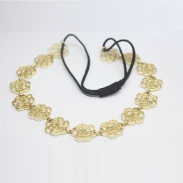 2 Ways Wear Gold Rose Chain Necklace Headwrap