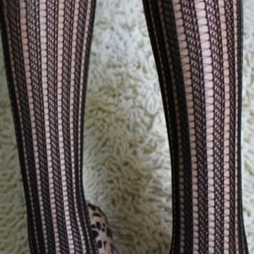 Black Fishnet Striped Seamless Tights Medium Size