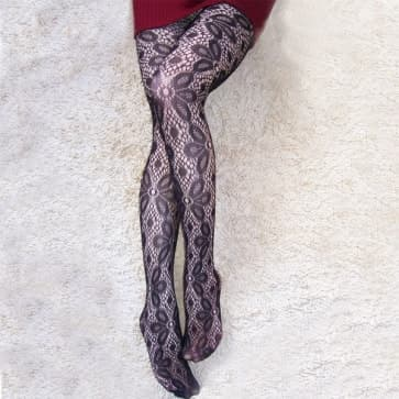 Women Black Floral Pattern Jacquard Tights Medium Size