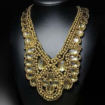 Gold Rhinestone Neckline Necklace