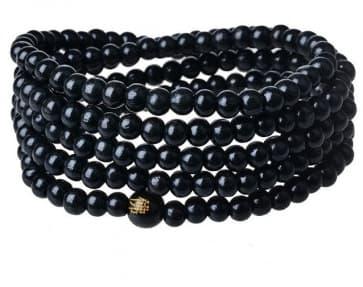 Black Ebony Sandalwood Bead Buddhist Prayer Bead Necklace Bracelet