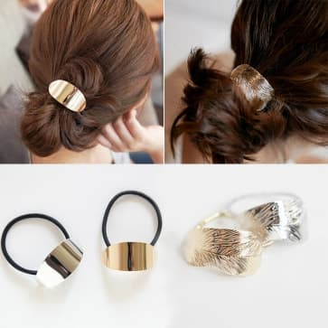 Gold & Silver Elastic Hair Band Scrunchie