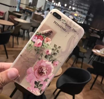 iPhone 7 Plus case, Rose Pattern with Soft TPU Scratch Resistant Case