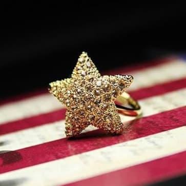 Sparkling Rhinestone Star Ring