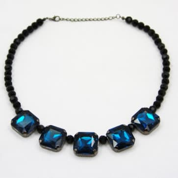 Blue Stone and Black Bead Necklace
