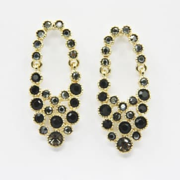 Fashion Sparkle Black and Gray Rhinestone Earrings