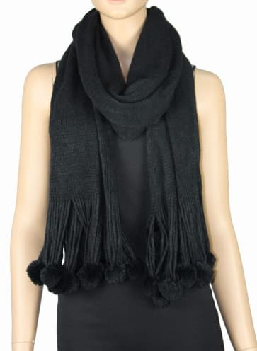 Knitted Pom Mix Wool Scarf - Black