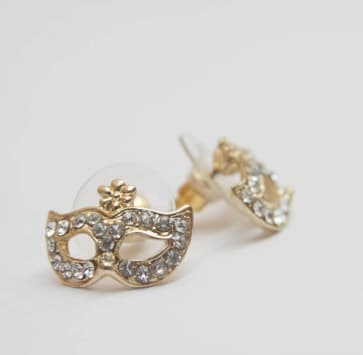 Mask Earrings - Gold