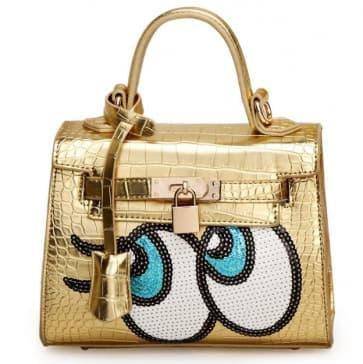 Fashion Big Eyes Tote Bag ~ Gold