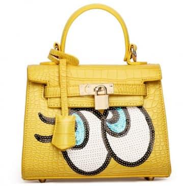 Fashion Big Eyes Tote Bag ~ Yellow