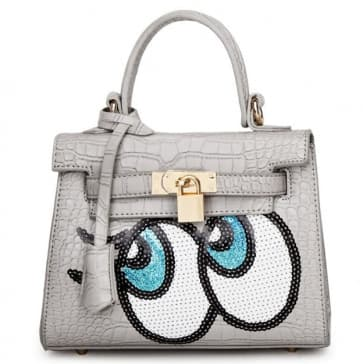 Fashion Big Eyes Tote Bag ~ Grey