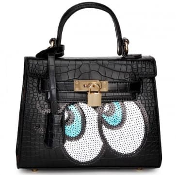 Fashion Big Eyes Tote Bag ~ Black