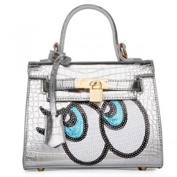Fashion Big Eyes Tote Bag ~ Silver