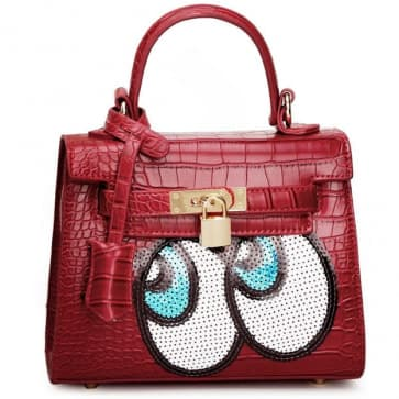 Fashion Big Eyes Tote Bag ~ Red