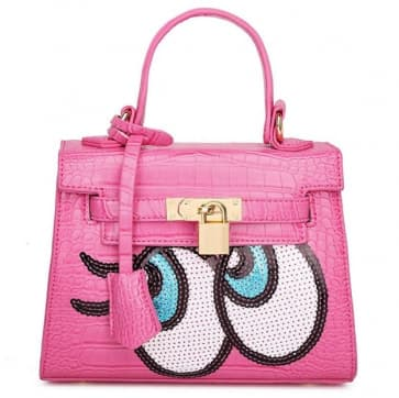 Fashion Big Eyes Tote Bag ~ Fuchsia