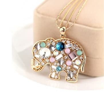 Gold-Tone Necklace with Rhinestone Elephant Pendant