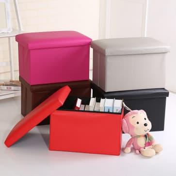 Household Essentials Waterproof PU Leather Foldable Storage Box Storage Bin