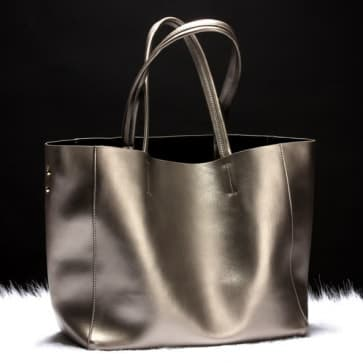 Two-ways Leather Shopper Bag ~ Silver