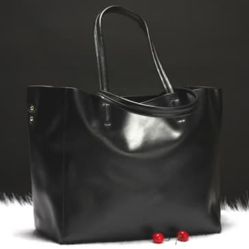 Two-ways Leather Shopper Bag ~ Black