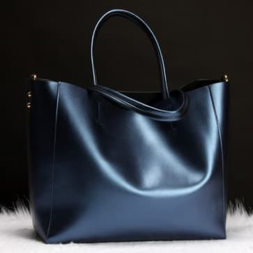 Two-ways Leather Shopper Bag ~ Blue