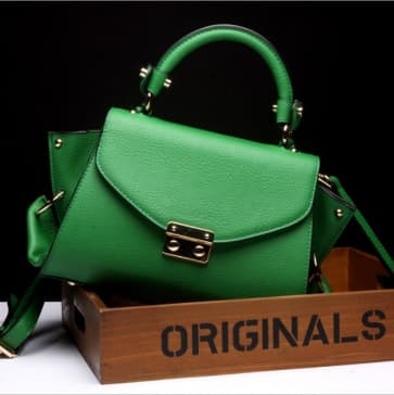 Gold Buckle Leather Shoulder Bag ~ Green