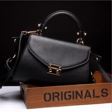 Gold Buckle Leather Shoulder Bag ~ Black