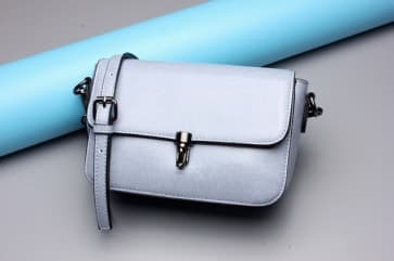 Solid Leather Shoulder Bag ~ Light Blue